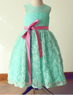 Princess Tea Length Flower Girl Dress Lace Satin Sleeveless Jewel With