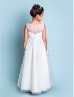 A Line Ankle Length Flower Girl Dress Lace Jewel With Lace
