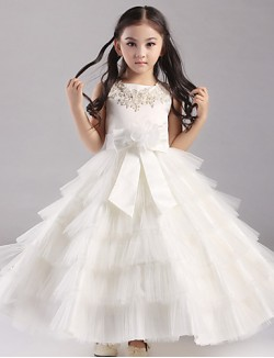 Ball Gown Ankle Length Flower Girl Dress Organza Satin Polyester Short Sleeve Jewel With Appliques Beading