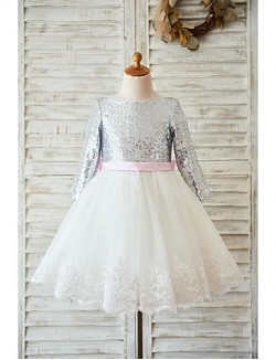 A Line Short Knee Length Flower Girl Dress Lace Tulle Sequined Long Sleeve Jewel With Bow Lace