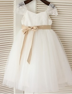 A Line Tea Length Flower Girl Dress Lace Tulle Short Sleeve Scoop With
