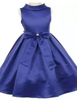 Ball Gown Tea Length Flower Girl Dress Jersey Sleeveless High Neck With Bow Crystal Detailing