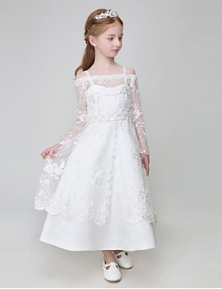 Ball Gown Ankle Length Flower Girl Dress Tulle Polyester Long Sleeve Spaghetti Straps With Appliques