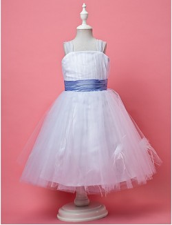 A Line Princess Short Knee Length Flower Girl Dress Tulle Sleeveless Square Straps WithDraping Feathers Fur Flower