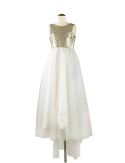 A Line Asymmetrical Flower Girl Dress Tulle Sequined Sleeveless Scoop With Flower