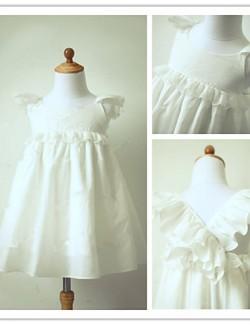 A Line Tea Length Flower Girl Dress Taffeta Short Sleeve Jewel With