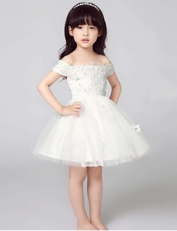 A Line Short Mini Flower Girl Dress Tulle Short Sleeve Off The Shoulder With