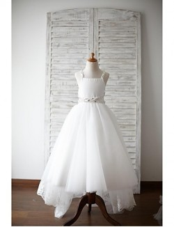 A Line Asymmetrical Flower Girl Dress Lace Satin Tulle Sleeveless Straps With