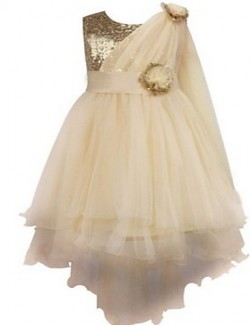 Ball Gown Tea Length Flower Girl Dress Lace Organza Sleeveless Jewel With Flower Sash Ribbon