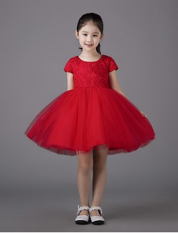 Ball Gown Short Mini Flower Girl Dress Lace Tulle Short Sleeve Jewel With