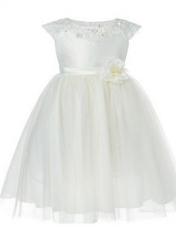 Ball Gown Tea Length Flower Girl Dress Tulle Short Sleeve Jewel With Appliques Beading Sash Ribbon
