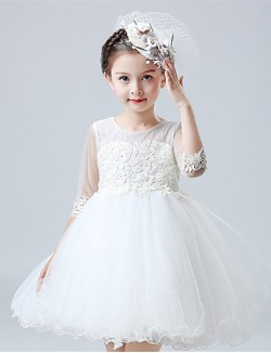 A Line Short Knee Length Flower Girl Dress Cotton Satin Tulle Half Sleeve Jewel With Appliques