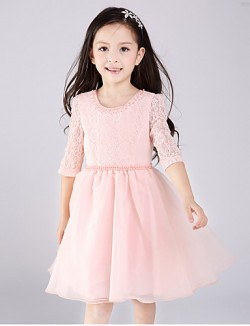 A Line Short Mini Flower Girl Dress Lace Tulle Half Sleeve Jewel With