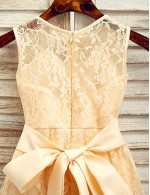 A Line Ankle Length Flower Girl Dress Lace Sleeveless Jewel With