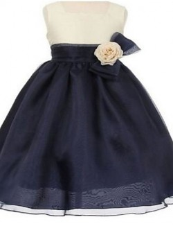 Ball Gown Short Knee Length Flower Girl Dress Organza Sleeveless Square With Bow Flower Sash Ribbon