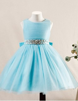 Ball Gown Short Knee Length Flower Girl Dress Tulle Sleeveless Jewel With Beading Bow