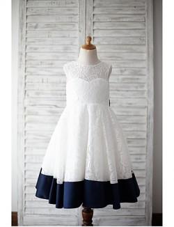 A Line Tea Length Flower Girl Dress Lace Satin Sleeveless Jewel With