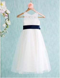 A Line Tea Length Flower Girl Dress Lace Tulle Sleeveless Jewel With
