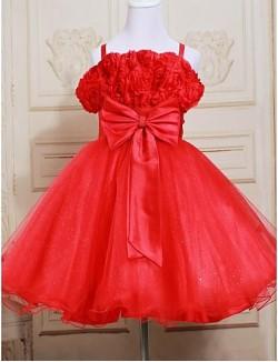 A Line Short Knee Length Flower Girl Dress Satin Tulle Sleeveless Straps With