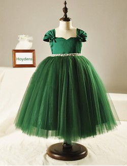 Ball Gown Tea Length Flower Girl Dress Tulle Short Sleeve Square With Beading Bow