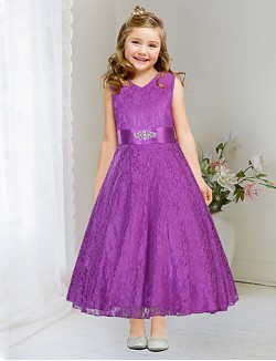 Ball Gown Tea Length Flower Girl Dress Lace Satin Sleeveless V Neck With Lace Sash Ribbon