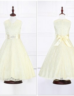 Ball Gown Ankle Length Flower Girl Dress Organza Satin Sleeveless V Neck With Crystal Detailing Lace