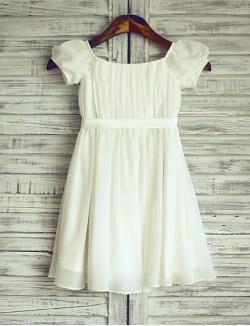 Sheath Column Short Knee Length Flower Girl Dress Chiffon Satin Short Sleeve Bateau With