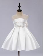 A Line Short Knee Length Flower Girl Dress Satin Tulle Sleeveless Jewel With Bow Draping Sash Ribbon