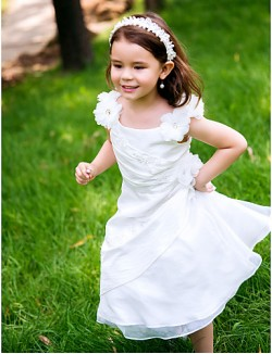 A Line Ankle Length Flower Girl Dress Polyester Scoop With Lace