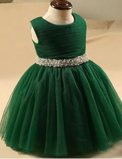 A Line Short Knee Length Flower Girl Dress Tulle Sleeveless Jewel With