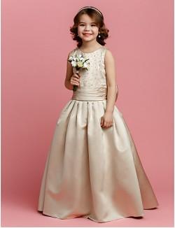 A Line Long Floor Length Flower Girl Dress Satin Sleeveless Jewel With Beading Bow Sash Ribbon Ruching