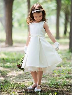 Sheath Column Short Knee Length Flower Girl Dress Silk Halter With