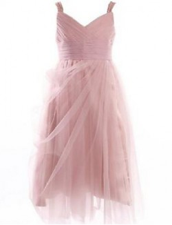 Ball Gown Tea Length Flower Girl Dress Lace Tulle Sleeveless Straps With Draping