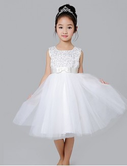 A Line Short Knee Length Flower Girl Dress Cotton Satin Tulle Sleeveless Jewel With Bow Sequins