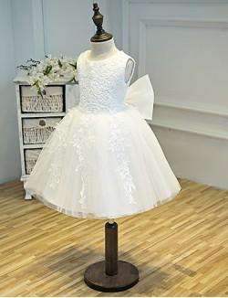 A Line Short Knee Length Flower Girl Dress Tulle Sleeveless Jewel With Appliques Bow
