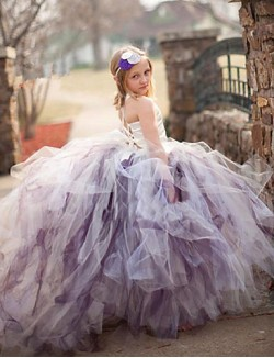 Ball Gown Court Train Flower Girl Dress Tulle Stretch Satin Polyester Sleeveless Spaghetti Straps With