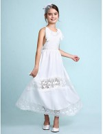 2017 A Line Ankle Length Flower Girl Dress Chiffon Sleeveless Scoop With Lace