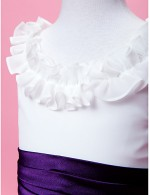 A Line Princess Long Floor Length Flower Girl Dress Chiffon Sleeveless Scoop With Draping Ruffles Sash Ribbon