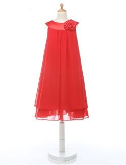 A Line Short Knee Length Flower Girl Dress Chiffon Sleeveless Jewel With Flower