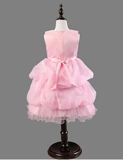 Ball Gown Princess Short Knee Length Flower Girl Dress Satin Tulle Sleeveless Scoop With