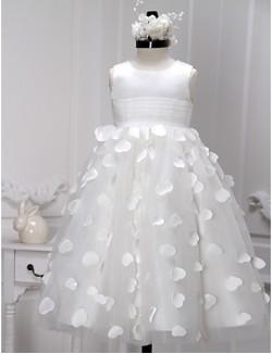 A Line Tea Length Flower Girl Dress Satin Tulle Sleeveless Scoop With