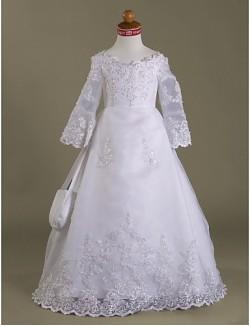 A Line Princess Long Floor Length Flower Girl Dress Organza Satin Long Sleeve V Neck With Appliques Beading Ruffles