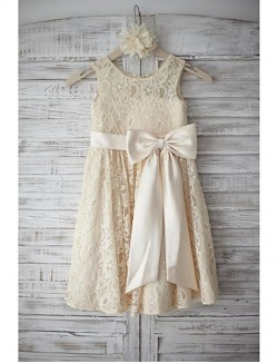 A Line Short Knee Length Flower Girl Dress Lace Sleeveless Scoop With