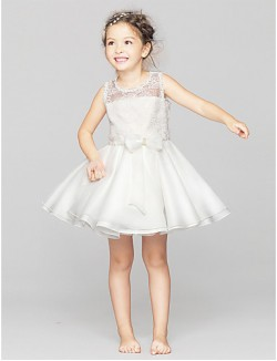 A Line Short Mini Flower Girl Dress Lace Polyester Sleeveless Jewel With