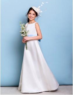 Long Floor Length Satin Tulle Junior Bridesmaid Dress A Line Jewel With Bow Sash Ribbon