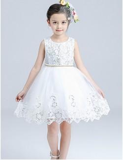 A Line Short Knee Length Flower Girl Dress Cotton Satin Tulle Sleeveless Jewel With