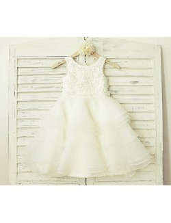 A Line Short Knee Length Flower Girl Dress Lace Organza Sleeveless Scoop With