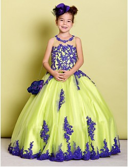 Ball Gown Long Floor Length Flower Girl Dress Tulle Sleeveless Jewel With Appliques Beading