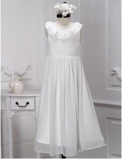 A Line Tea Length Flower Girl Dress Chiffon Sleeveless Scoop With