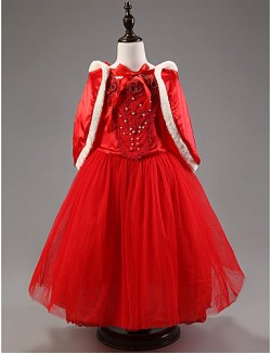 A Line Ankle Length Flower Girl Dress Satin Tulle Short Sleeve Jewel With